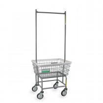 100E58/ANTI Antimicrobial Laundry Cart w/ Double Pole Rack