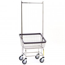 100T58 Chrome Front Load Laundry Cart w/ Double Pole Rack