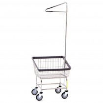 100T91 Chrome Front Load Laundry Cart w/ Single Pole Rack