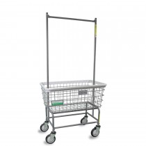 200F56/ANTI Antimicrobial Large Capacity Laundry Cart w/ Double Pole Rack