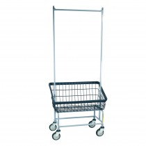 Large Capacity Front Load Laundry Cart w/ Double Pole Rack, Dura-Seven