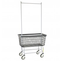 "201H56 Large Capacity 6 Bu ""Big Dog"" Laundry Cart w/ Double Pole Rack Chrome- R&B Wire 36.5""L x 23""W x 16""D x 77.5""H"