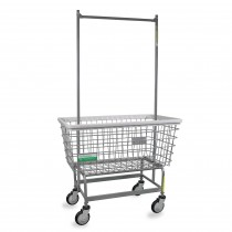 "201H56/ANTI Antimicrobial Mega Capacity ""Big Dog"" Laundry Cart w/ Double Pole Rack"