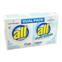D-S-2979355 ALL Free and Clear DUAL Pack 1 Load Detergent / Fabric Softener Sheet - Case of 100 Units