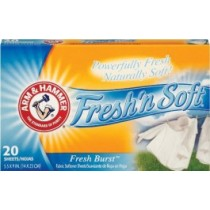 D-V8440100 Arm & Hammer Softener Sheets 12 Packs of 20 Sheets - Classic Fresh Burst Scent