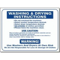 """L441 Washing And Drying Instructions Sign 15.5"""" X 19"""""""