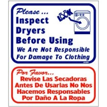 "English / Spanish - Please Inspect Dryers Before Using Sign 13.5"" X 16"""