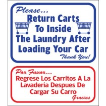 "English / Spanish - Please Return Carts To Inside The Laundry Sign 13.5"" X 16"""
