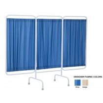 Three Panel Antimicrobial Stationary Designer Privacy Screen Blue Color