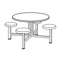 Seat Table Units STF-3600 With 1 Table And 4 Chairs In Starlight