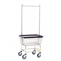 100E58 Chrome Standard Capacity Laundry Cart w/ Double Pole Rack