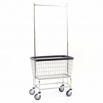 Chrome Large Capacity Laundry Cart w/ Double Pole Rack