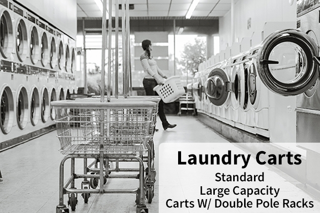 Laundry Carts - Standard, Large Capacity, Carts w/ Double Pole Racks