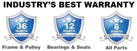 L.O.W. Certified Used Equipment - Industry's Best Warranty. 36 month warranty on the frame and pulley, 12 months on bearings and seals, and 6 months on all other parts